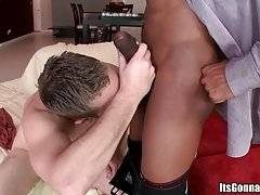 Sexy white guy is impressed with the size of black dude`s rod but still ready to taste it.