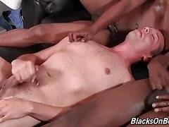 This is Caden`s Grey first scene AND his first time getting black cock. Double cum shot on his chest from two black guys