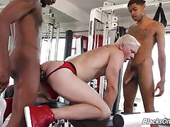 They`re handsome and black, and since Jay has never experienced `BBC`, he`s having a difficult time focusing on the workout. Jay is secretly checking out their packages...cause we all know black men are well-endowed! Sure enough, Jay goes from a `how-to`