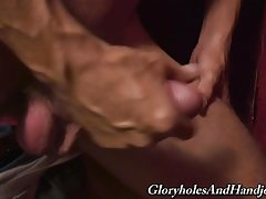 You see that black cock poking through that wall? I`m going to suck it and stroke it until it unloads a wave of black jizz all over. First, I`m going to get rid of every stitch of clothing on me and jack my shaft as a treat to you. Nobody can deep throat