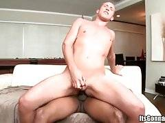 Slutty white guy is passionately jumping on giant chocolate dick.