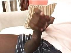 Charming black dude with a big throbbing shaft that he just can`t but play with.