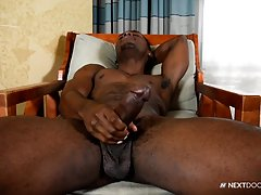 Taking a seat, Miller gets down to serious business, as he strokes himself hard and watches pre-cum drizzle out of the tip of his cock. Doing all he can to last longer, Miller wags his cock at the camera before unleashing his load all over himself as he b