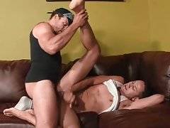 Hungry black guy deeply penetrates his cute eager friend.
