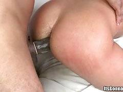 Horny white gay boy  is fond of awesome interracial threesome.